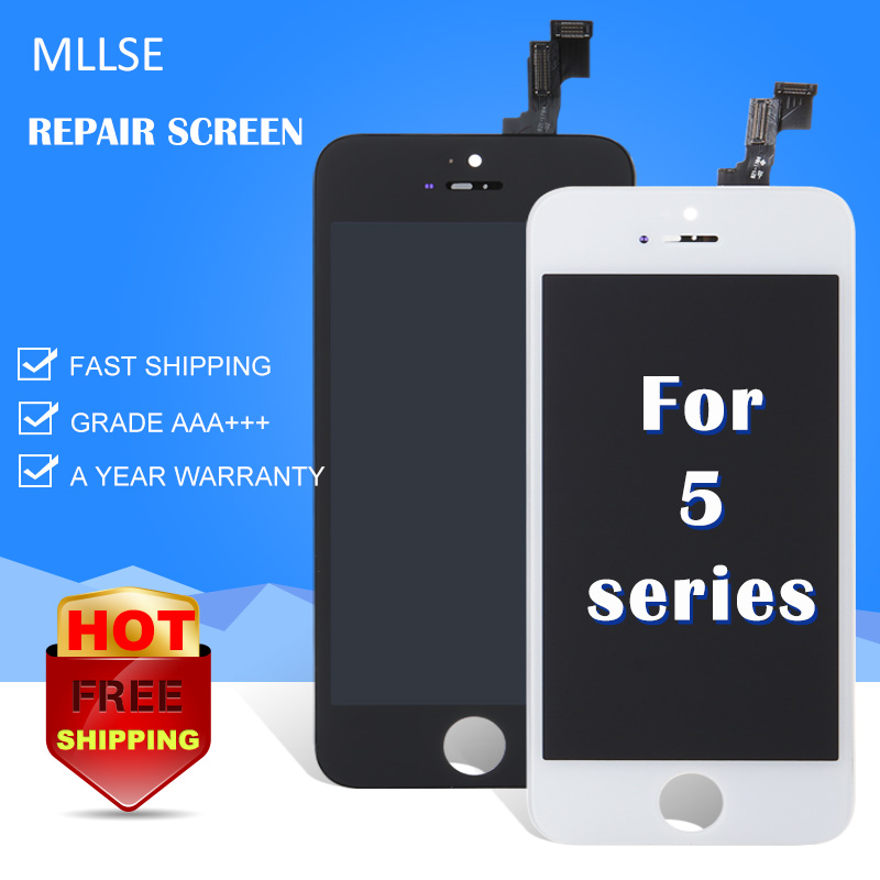 MLLSE For iPhone 5c 5s 5g 5 LCD Display Touch Screen Front Glass Assembly Replacement Repair with Ear Mesh Parts Aliexpress ship