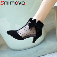 Smirnova big size 2018 summer new arrival shoes woman pointed toe zip butterfly knot ladies boots suede leather+mesh ankle boots