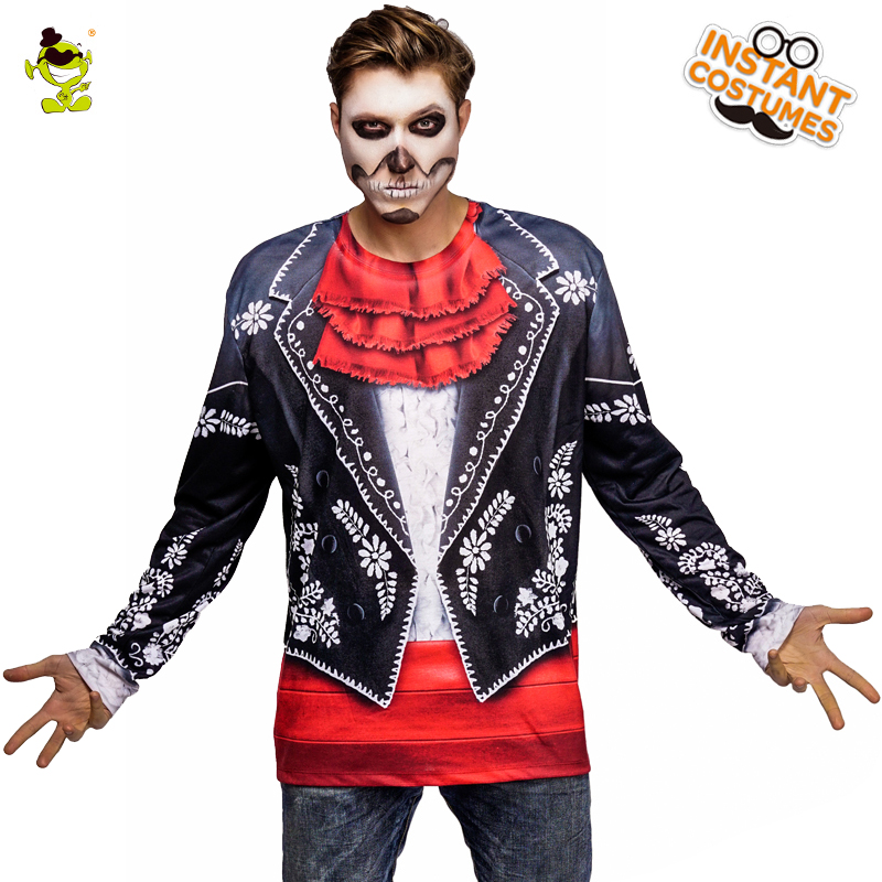 New Arrival Men's Ghost T-shirt Costume Cosplay In Halloween Party Casual Ghost Tee Gothic Long 3 D Printed  T-shirt Top