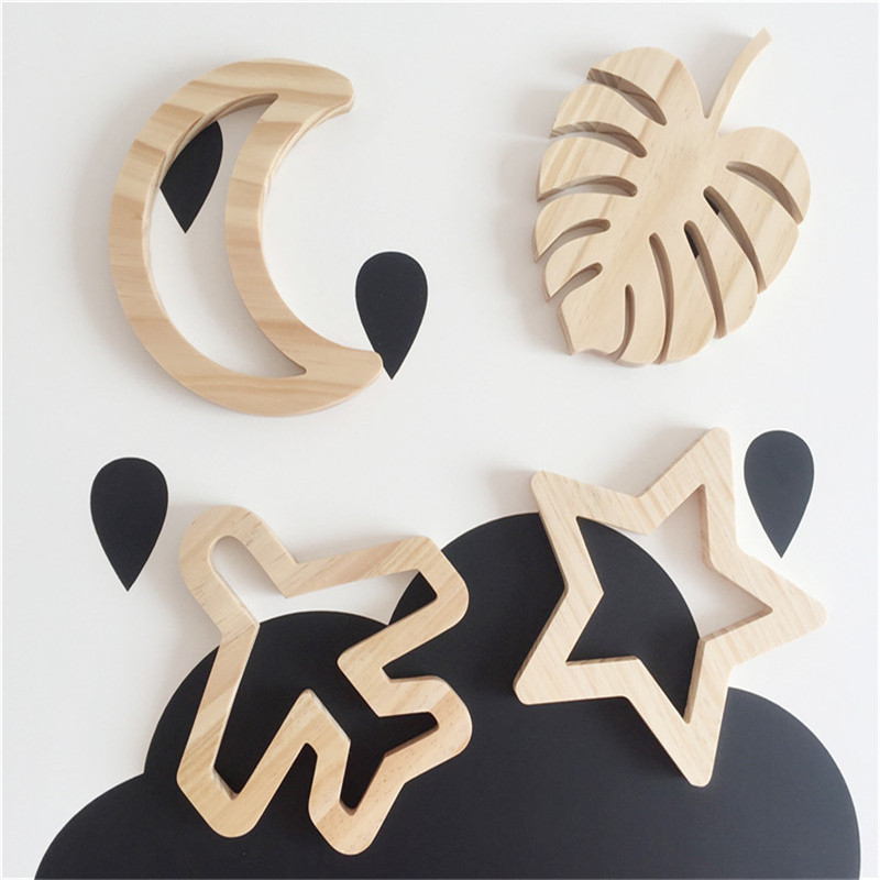 Creative Wooden Moon/Star/Heart/Airplane/Butterfly Design Wall Ornament Baby Room Wall Decorations Christmas Kids Gifts