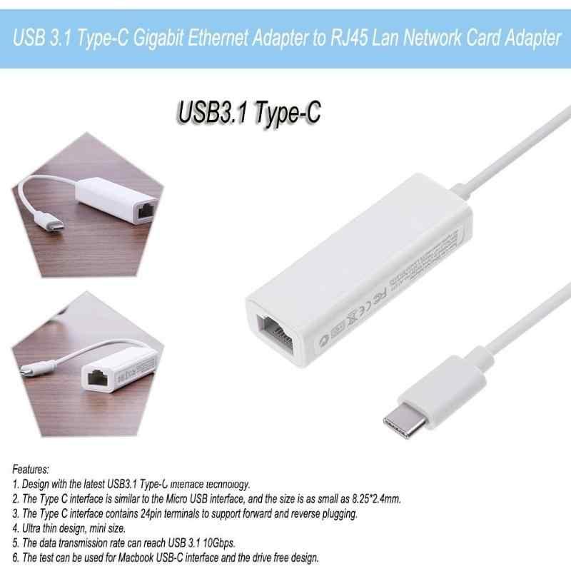 Usb 3,1 тип-c Gigabit Ethernet адаптер к Rj45 Соединительная плата локальной компьютерной сети адаптер