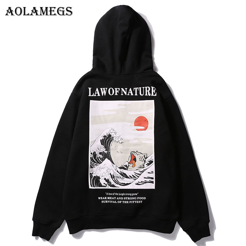 Aolamegs Hoodies Men Japanese Funny Cat