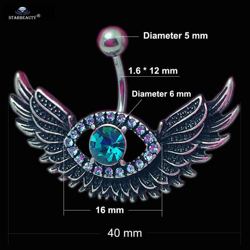 Starbeauty, 1 шт., пирсинг в пупок с летающим крылом, Nombril, ярко-голубой драгоценный камень, пупка, Кольца, Пирсинг живота, Ombligo, ювелирные изделия для тела