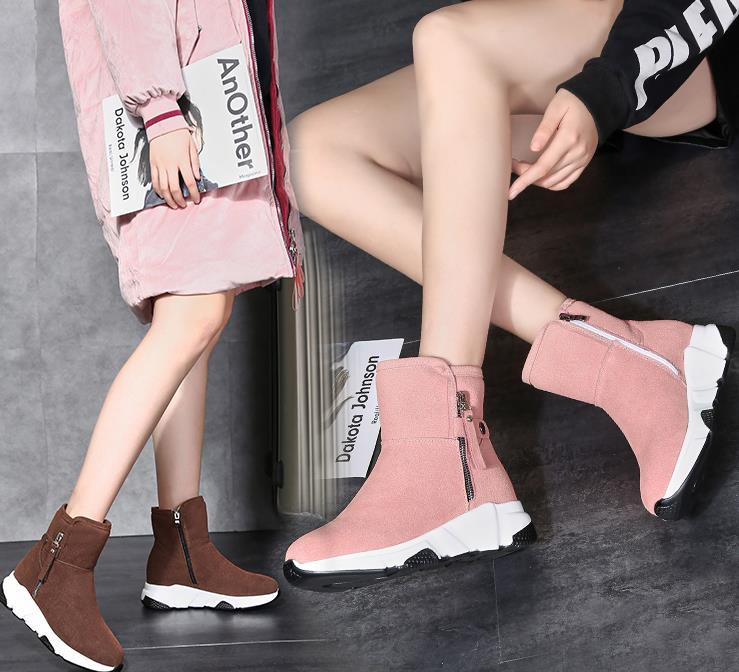 New Fashion Women Boots Snow Boots Sneakers Plush High Top Velvet Cotton Shoes Warm Lace-up Non-slip boots 54