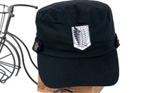 COOL Attack On Titan Anime Eren Recon Corps Logo Embroidered Canvas Black Cosplay Hat Cap