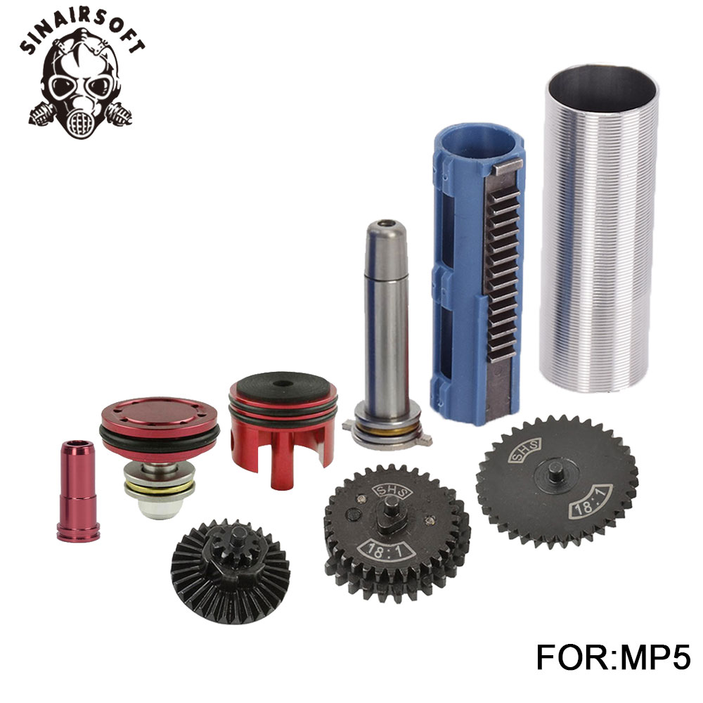 SHS 18 1 Gear Cylinder Nozzle Spring Guide 14 Teeth Piston Kit Fit Airsoft MP5 AK