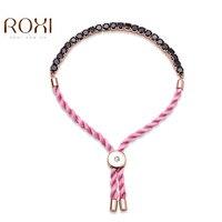2017 ROXI Thời Trang Vòng Đeo Tay Vàng Hồng Màu Chất Lượng Hàng Đầu AAA Zircon Rope Chain Nữ Thời Trang Trang Sức Pulseira Feminina