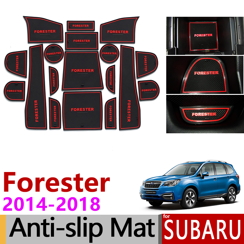 Anti-Slip Gate Slot Mat Rubber Cup Coaster For Subaru Forester 2014 2015 2016 2017 2018 SJ MK3 Accessories Stickers Car Styling
