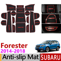 Анти-скольжения затворный слот резиновый коврик подставка под чашку для Subaru Forester 2014 2015 2016 2017 2018 SJ MK3 аксессуары наклейки стайлинга автомобил...