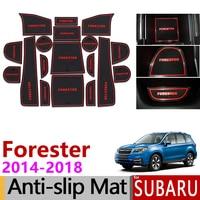 Anti Slip Mat Ranhura Portão Borracha Coaster Do Copo para Subaru Forester 2014 2015 2016 2017 2018 SJ MK3 Acessórios adesivos de Carro Carro Styling|Adesivos para carro| |  -