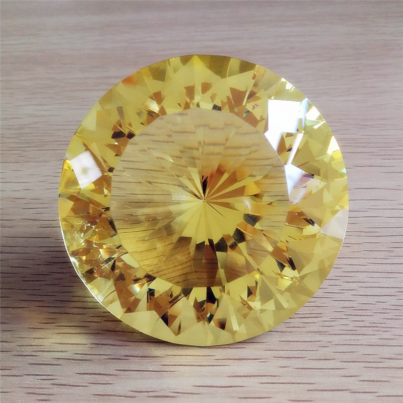 High Quality 80mm Topaz K9 Crystal Paperweight Cut Glass Large Giant Diamond Jeweley Gift