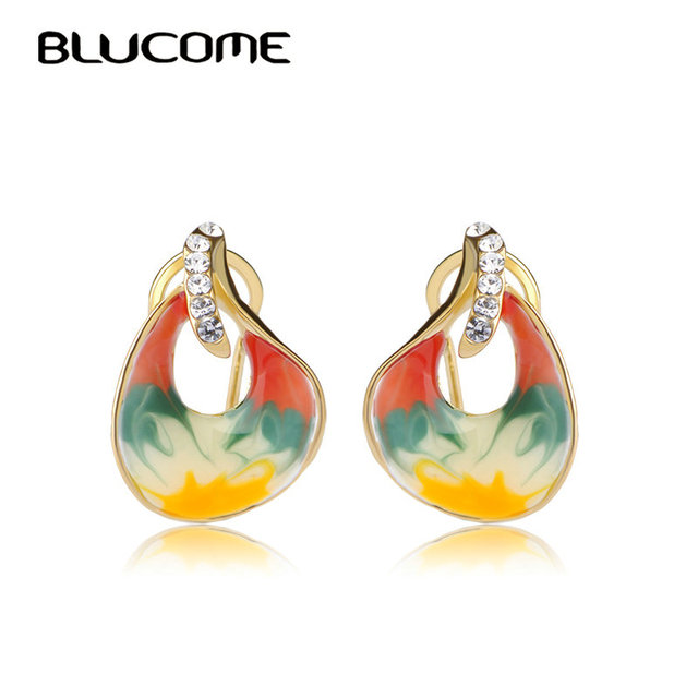 Blucome Fashion Colorful Butterfly Earrings French Hooks Joias Esmaltes Enamel Crystal Stud Earring Bijoux Small Ears Jewelry