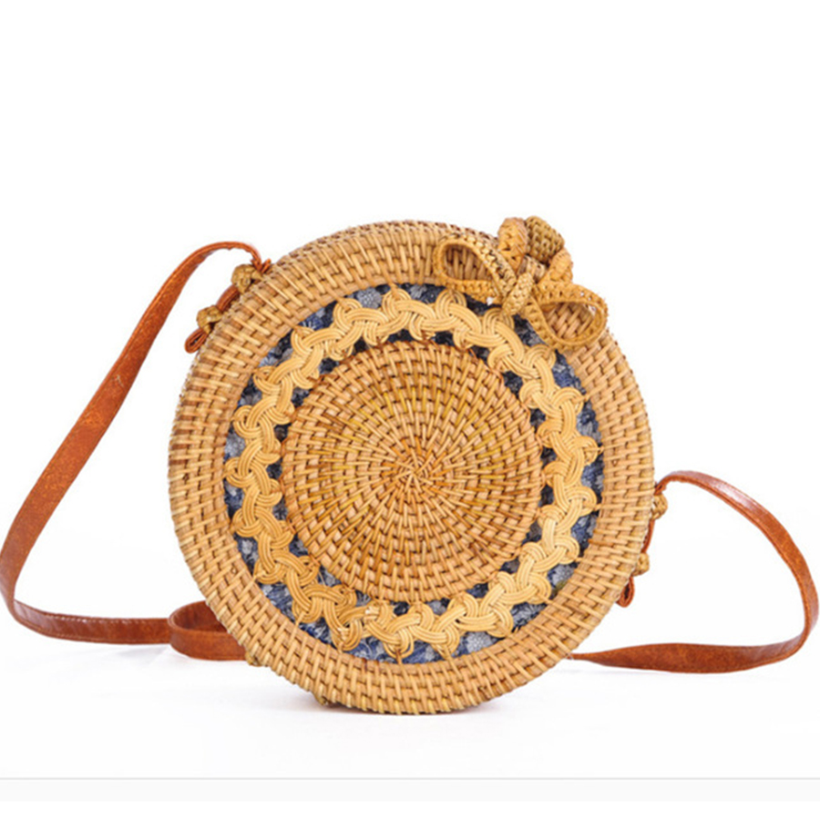 DUSUN Summer Bali Hand-Woven Rattan Bag Embroidery Shoulder Crossbody Bags Beach Straw Bag Bohemian Knitting Circular Handbags Сумка