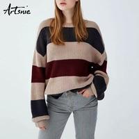 Artsnie Streetwear Patchwork Lantern Sleeve Knitted Pullovers Women Autumn 2018 O Neck Long Sleeve Knit Sweater Girls Jumpe Pull