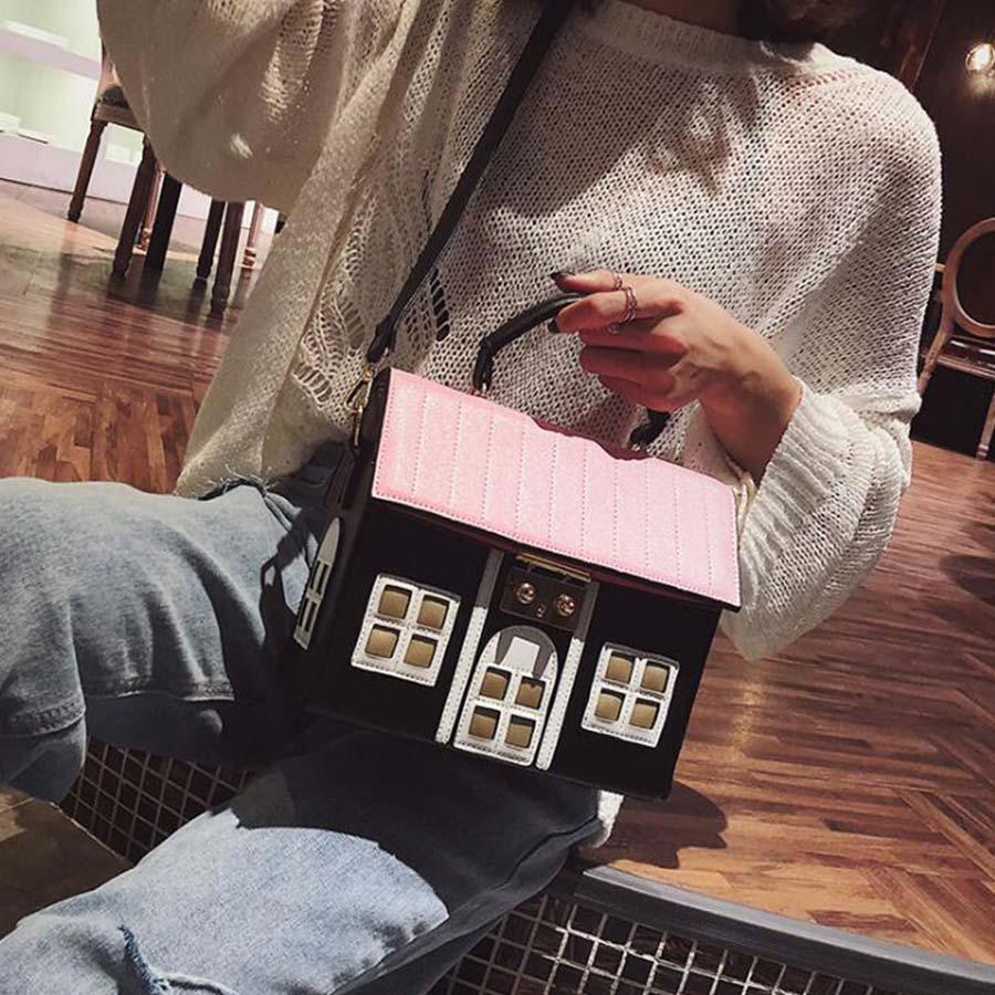 Luxury Women Handbags Purse Pu Leather Designer Fashion House Shape Casual Women Shoulder Messenger Bag Bolsa Feminina
