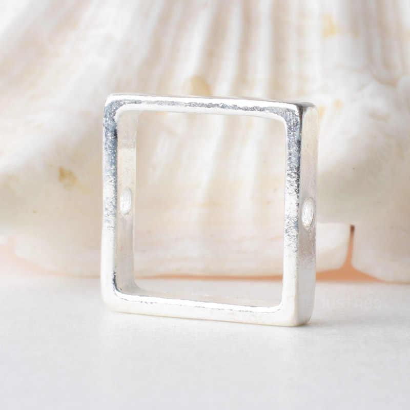Solid 925 Sterling Perak Square Prakarya Bingkai, Spacer Longgar Bead dengan 1 Mm Lubang Perhiasan DIY Komponen Aksesoris