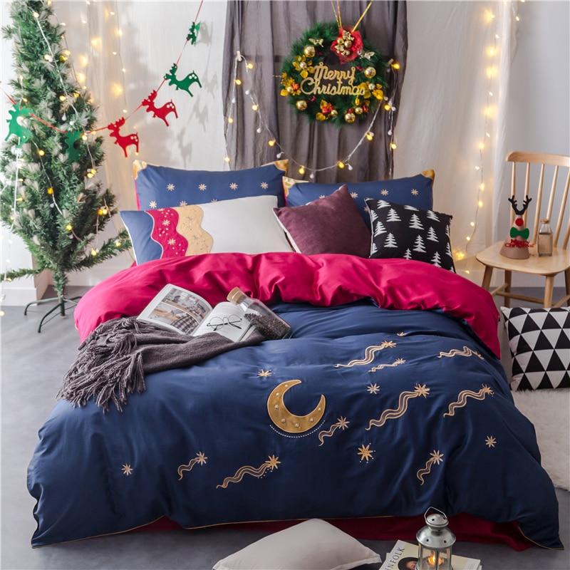 4pcs Luxury Egypt cotton meteor shower Bedding set Applique Embroidery Duvet cover set Bedsheet Pillowcases Queen King size