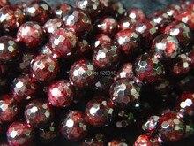 Wholesaleg (2 filamentos/set) Encantos Naturales 10mm Rojo Granate Facetado Granos Flojos Redondos de Piedra