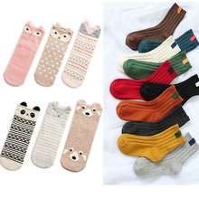 Women Socks Cotton Blends Casual Solid Colors Striped Long Autumn Winter Lovely Cartoon Calcetines Mujer 1/2pair