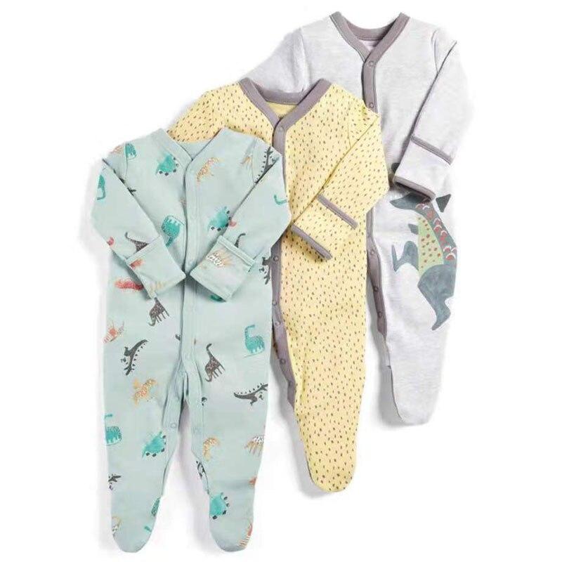 Комбинезон для новорожденных, пижама для новорожденных, 3 шт., с принтом динозавра, на осень и зиму, 2019