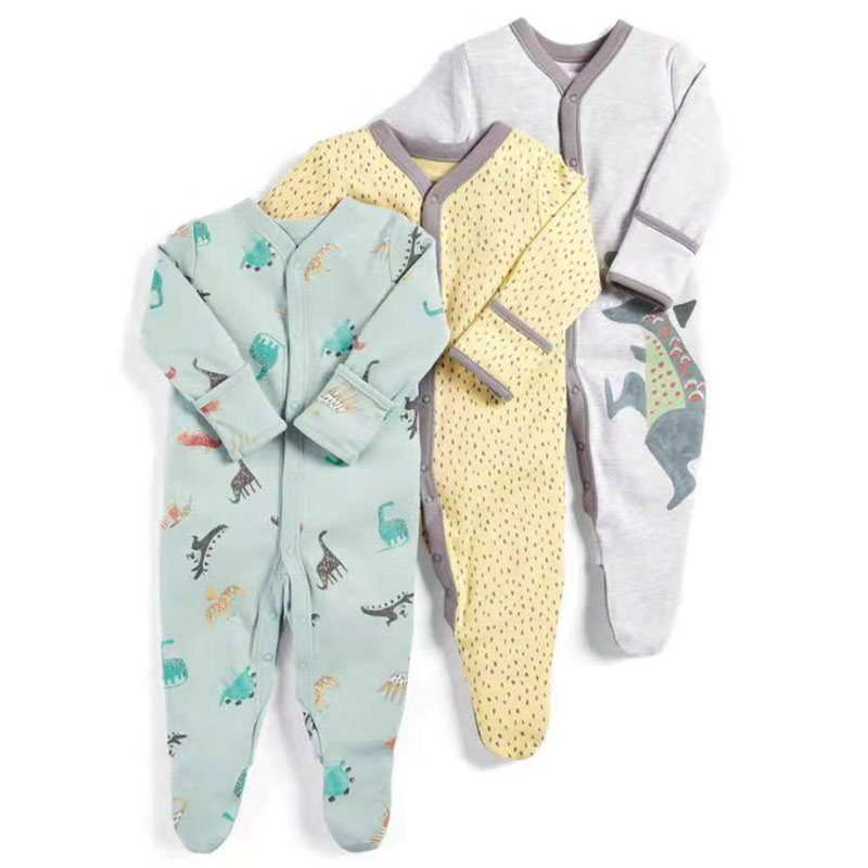 2019 Baby   Rompers   Autumn Winter 3pcs Sleep Suit Dinosaur Print New Born Baby Clothes Baby Girl   Romper   Newborn Jumpsuit Pajamas