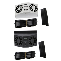 OOTDTY Solar Power Car Window Windshield Auto Air Vent Cooling Exhaust Dual Fan System Cooler