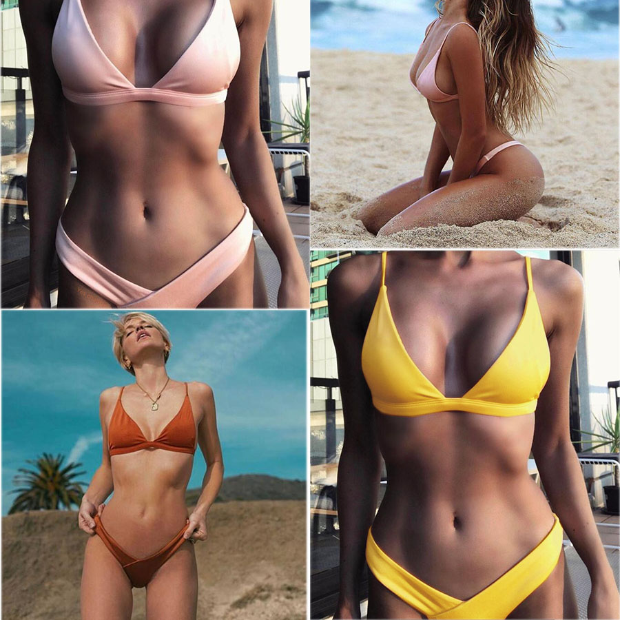 Micro Bikini Set 2019 Sexy Swimwear Women Push Up High Cut Brazilian Thong Bikini Solid Bandage Halter Swimsuit Beachwear Summer