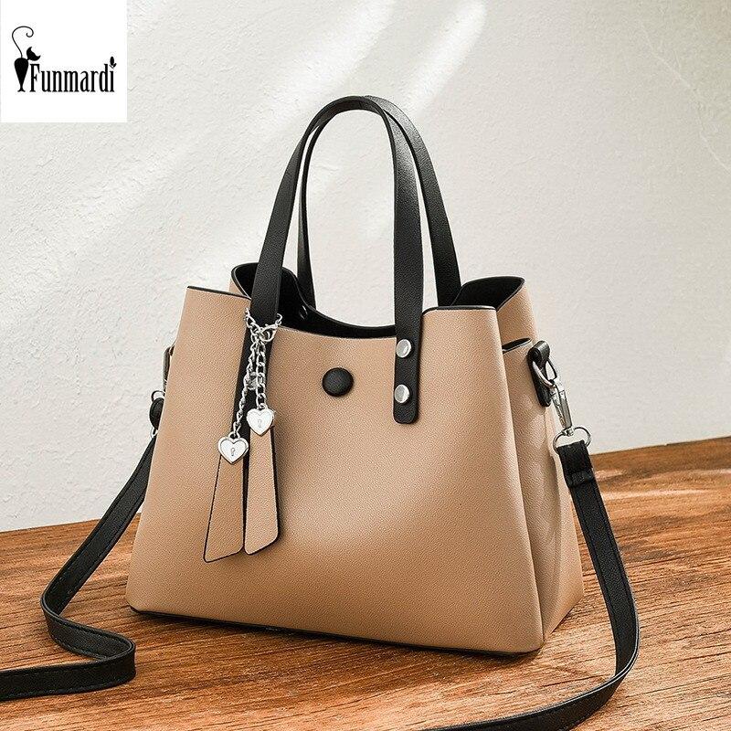 FUNMARDI Lady Large Tote Bags Female Shoulder Bag PU Leather Women Handbag 2019 Simple New Tote Crossbody Bag For Women WLHB1973