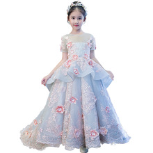 Children's dress princess dress girl big tail model catwalk dress wedding piano performance pettiskirt small host все цены