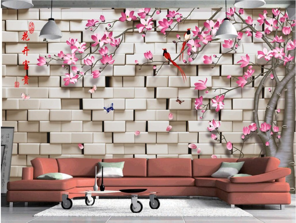 3d wallpaper custom photo non-woven mural Magnolia flower bird wall 3d wall murals wallpaper for walls 3 d living room painting free shipping deconstruction blue bird bird personalized painting large murals mak wallpaper custom size