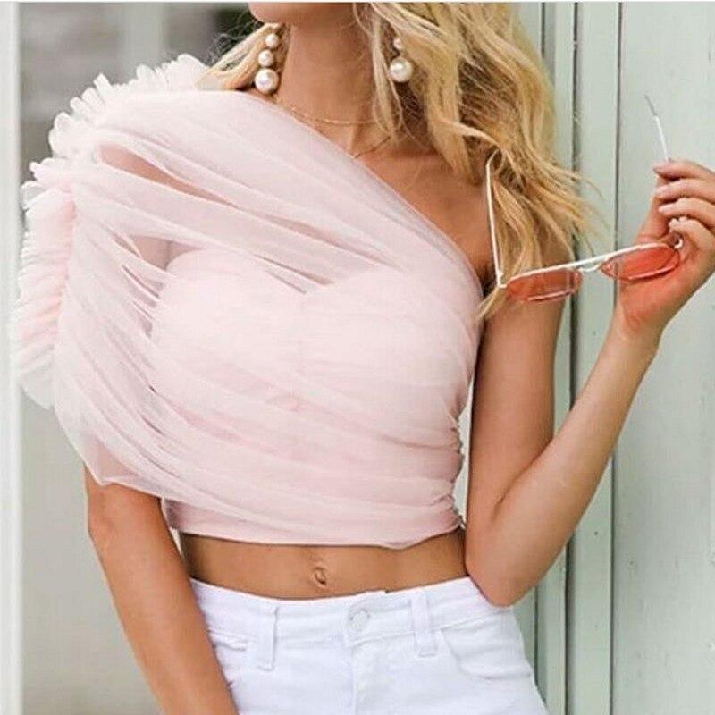 Kadın Giyim'ten Kolsuz Yelekler'de Moda Yeni Pembe Tül Kadın Üst Bir Omuz Ruffles Custom Made Tops Kadın Yelek Kırpılmış Feminino Tankı 2019 Kırpma Üst'da  Grup 1