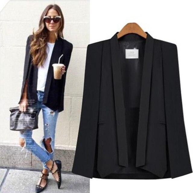 LOWLUVขนาดแฟชั่นเสื้อคลุมเสื้อสูทสีขาวสีดำปกแยกแขนยาวแจ็คเก็ตที่เป็นของแข็งชุดสูทลำลอง