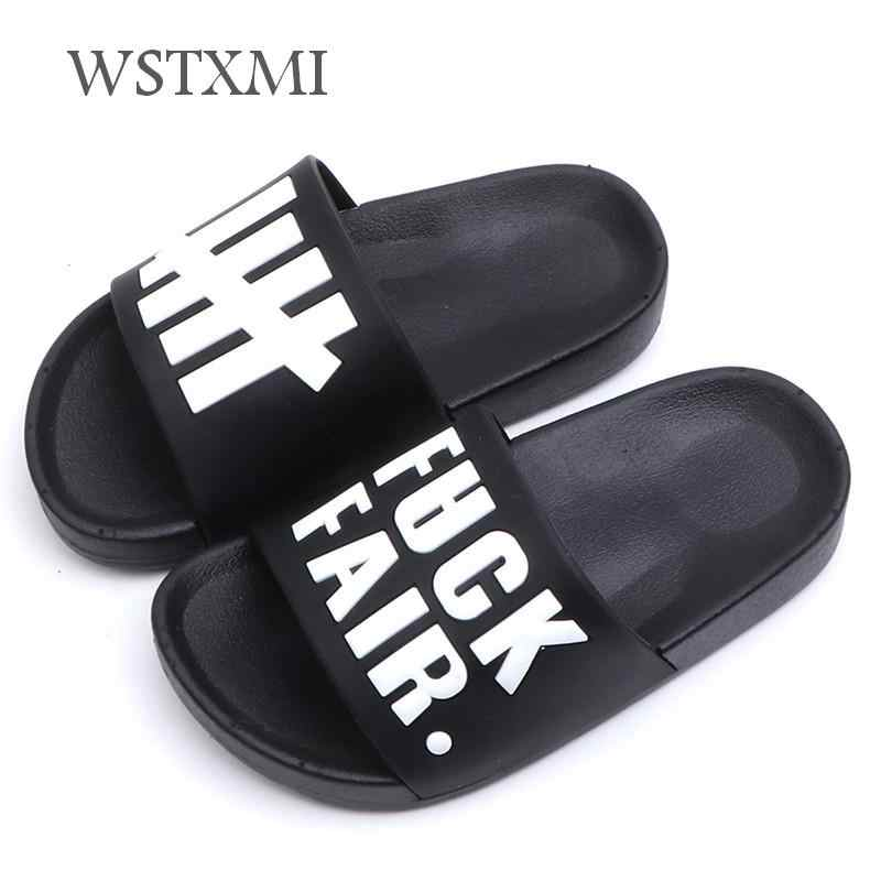 Kids Slippers for Boys Striped Home Slippers Children Summer Korea Bathroom Flip Flop Outdoor Sandals Baby Boys Non-slip Shoes