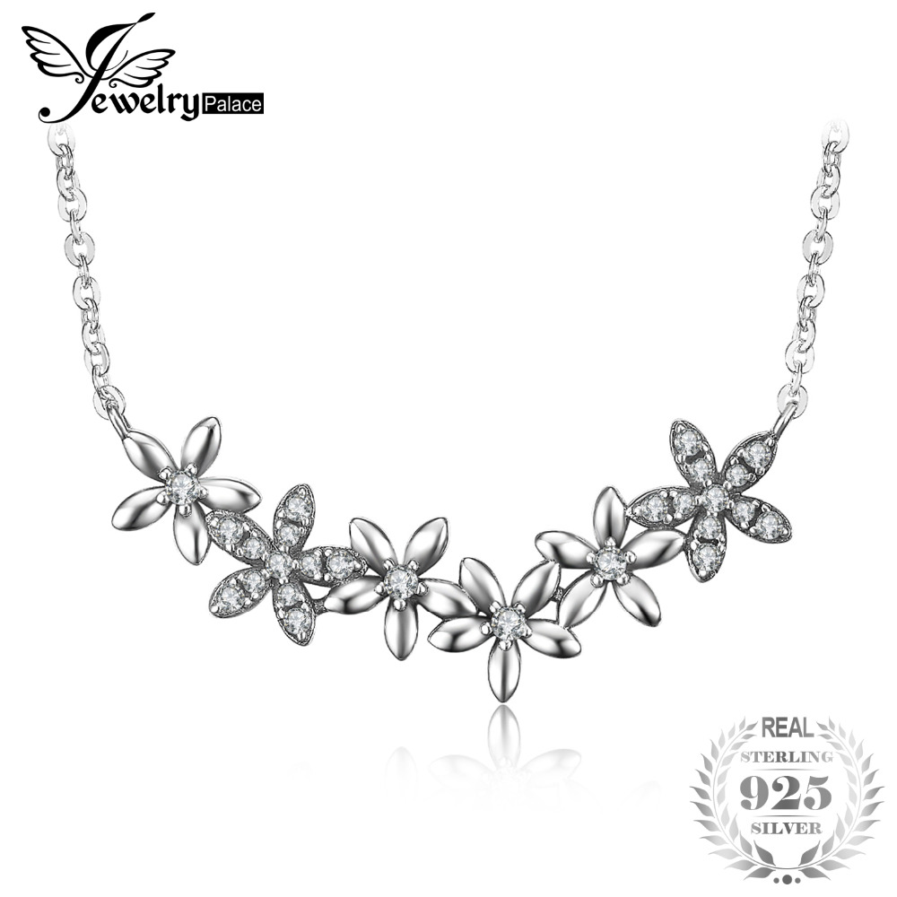 JewelryPalace Vintage Flowers Cluster Cubic Zirconia Pendant Necklace With 18 Inches Chain 925 Sterling Silver Fashion Jewelry