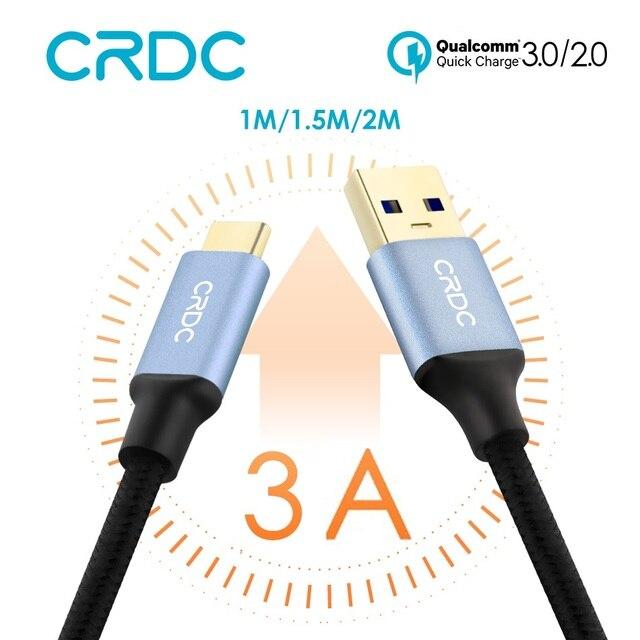 USB c crdc 3A Тип USB C нейлон Тип-C Быстрый зарядный кабель данных для Samsung Galaxy S8 xiaomi MI5 Nexus 5x6 P OnePlus