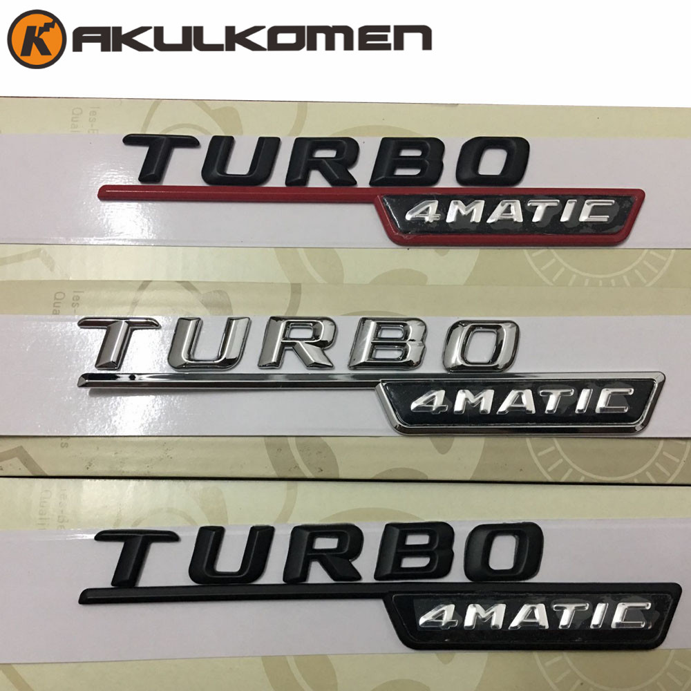 2pcs/lot 3D Black Silver TURBO 4MATIC  Car Trunk Rear Letters Badge Emblem Emblems Decal Sticker for Mercedes Benz turbo car styling for mercedes benz g series w460 w461 w463 g230 g300 g350 chrome number letters rear trunk emblem badge sticker