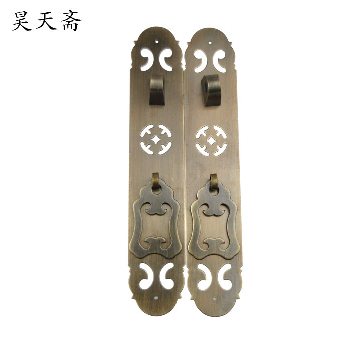 [Haotian vegetarian] antique Chinese cabinet wardrobe bookcase door handle HTC-250 copper coins money [haotian vegetarian] antique copper long white locks white tongsuo bookcase door 11 2cm cabinet lock hth 091
