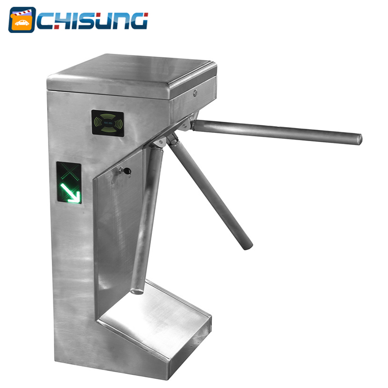 Access control system Economic Vertical Semi-automatic Tripod Turnstile Gate automatic tripod turnstile with built in electronics and 2 readers remote control panel for access control system