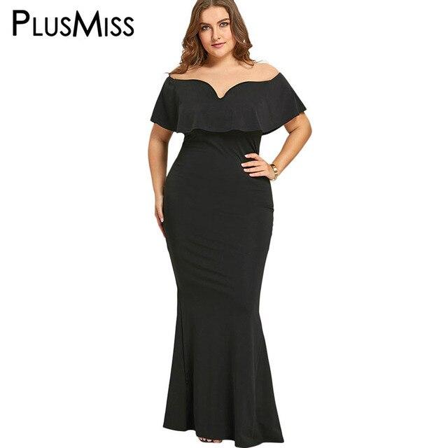 2931aa6078886 PlusMiss Plus Size 5XL Ruffle Off The Shoulder Mermaid Dress Bodycon Black  Elegant Evening Party Dresses Maxi Long Big Size 2018