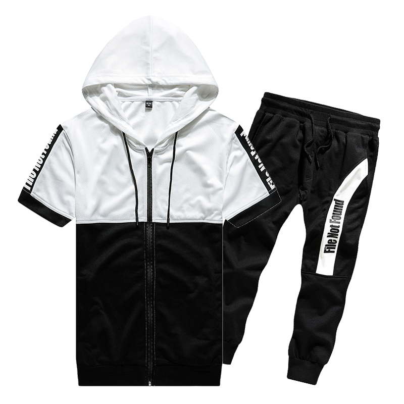 TFETTERS 2019 Summer Hot Sale Men's Sets T Shirts+pants Two Pieces Sets Casual Tracksuit Male Tshirt Gyms Fitness Trousers Men