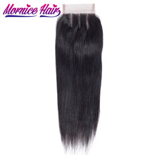 Mornice Hair Brazilian Straight Hair Lace Closure 4X4 Three Part 100% Hand Tied Remy Human Hair Closure Density 130%