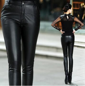 Cuir Black La Serré En Mouton Mode Nouvelles Femmes Hiver Pantalon De S Coréenne 4xl Taille Plus Crayon Peau Véritable Automne v1q4Hxf