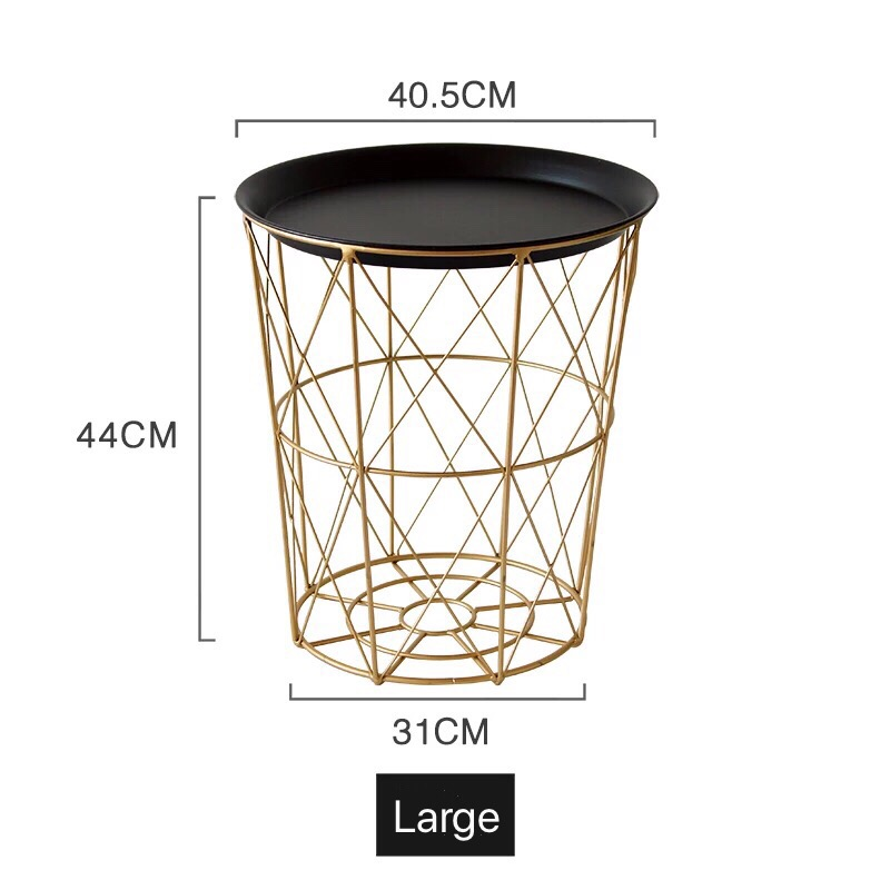 Golden Storage Basket With Cover Black Small Tea Round Table Metal Storage End Modern Living Room Round Coffee Table