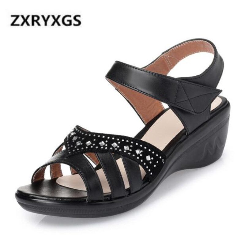 Rhinestone Genuine Leather Shoes Fashion Sandals Wedge Shoes Woman New 2019 Large Size Non-slip Comfort Summer Women SandalsRhinestone Genuine Leather Shoes Fashion Sandals Wedge Shoes Woman New 2019 Large Size Non-slip Comfort Summer Women Sandals