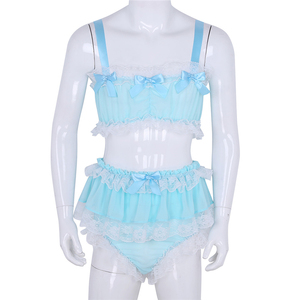 Image 3 - YiZYiF Sissyชายชุดชั้นในเซ็กซี่เครื่องแต่งกายเซ็กซี่ชุดRuffled Lace Sheer Chiffon Crop TopกระโปรงPetticoatedกางเกงExoticชุดสำหรับชาย
