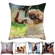 Fuwatacchi Cute Dog Cushion Cover Animal Throw Pillows Pillow for Sofa Bedroom Linen Pillowcase Decorative Pillowcases