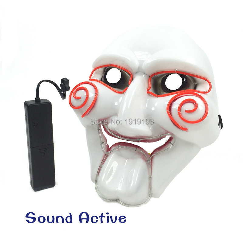 50Pieces Movie Scared Puppet EL Cable Rope Anonymous Killer Mask Novelty Led Strip Joker Smiling Mask for April Fool Day Decor