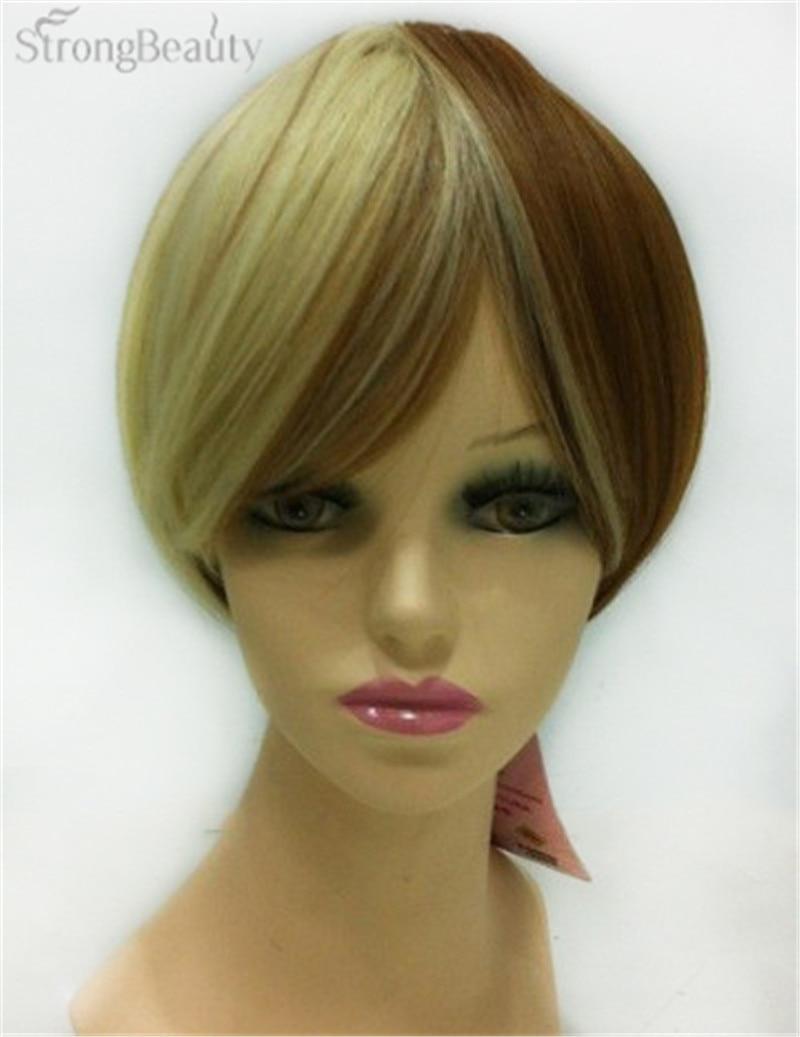 fuerte belleza tendencia peinado recto corto rubio y castao pelucas cortas sintticas pelucachina