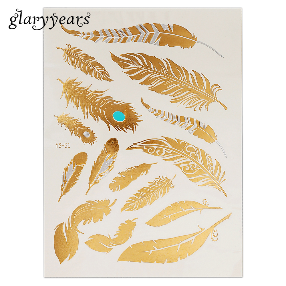1PC Flash Metallic Waterproof Tattoo Gold Silver Women Fashion Henna YS-51 Peacock Feather Design Temporary Tattoo Stick Paster велосипед khs vitamin a 2016