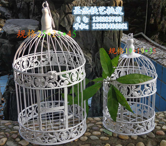 Fashion iron wrought  birdcage white decoration hanging bird cage